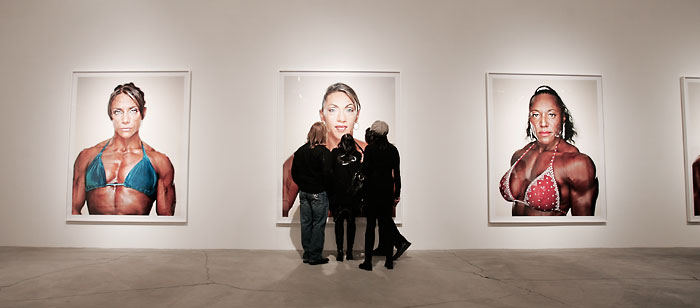 viewers at the Martin Schoeller Female Bodybuilders opening