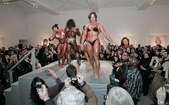 Annie Rivieccio, Iris Kyle, Betty Viana, Yaxeni Oriquen and Rose Jennings perform at the Martin Schoeller Female Bodybuilders opening